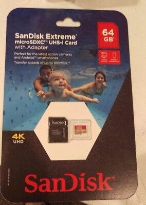 Sealed Sandisk Extreme 64Gb Micro Sdxc Uhs-I Memory Card With Adapter 100Mb/s !!