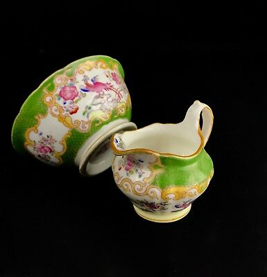 Early 20th Century Art Deco Minton Jug And Bowl Set / Pair Green Peacock Pink