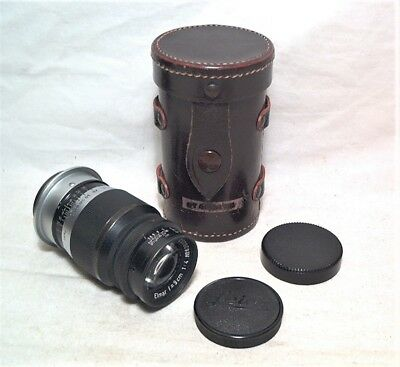 Leica Elmar 9Cm (90Mm) 1:4 Telephoto W/ Caps & Case - Screw Mount - Very Clean