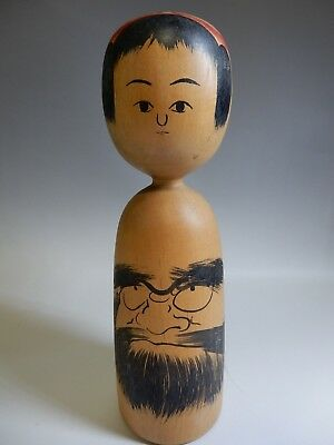 "Unique Japanese Daruma Painting Traditional Kokeshi Wooden Doll H22cm 8.8"" 460g"