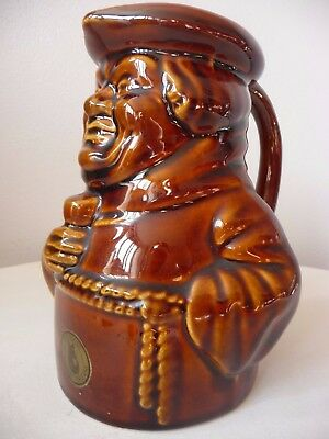 "Vintage Dartmouth Pottery ""Black Friar"" Plymouth Gin Brown Monk Jug Breweriana"