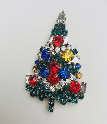 Unsigned Vintage Christmas Tree Pin Brooch Rhinestone Candles COAT PIN