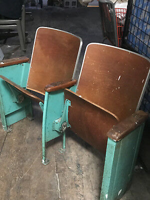 Vintage Antique Wooden Folding Theater Seats