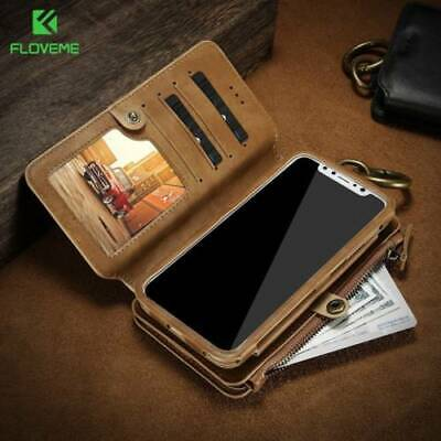 FLOVEME Wallet Flip Leather Case Cover for iPhone Xs Max Samsung Galaxy Note 9