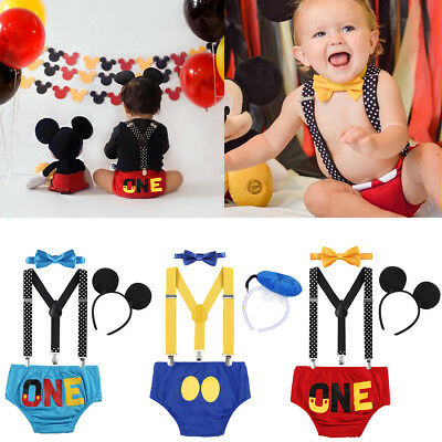 c8511a885 Toddler Baby Boy Birthday Suspenders Smash Cake Pants Mickey Mouse Outfits  Cloth
