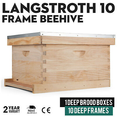 Langstroth Bee Hive 10 Frame 1 Deep Brood Box Complete Kit Beekeepers Vevor