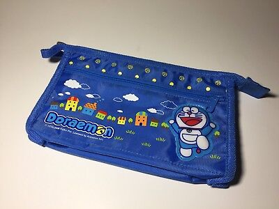 New 2008 Doraemon Zipper Pencil Pouch Wallet Blue
