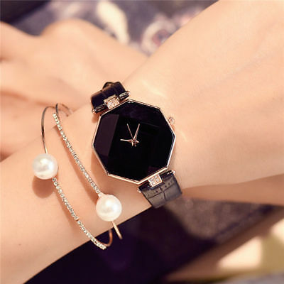 Lady Quartz Diamond Wrist Watch Watches Women 's Fashion Leather Band Analog