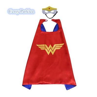 Kids Teenage Adults Wonder Women Cape&Mask Superhero Costume Accessory