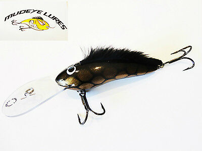 Timber Lure Mudeye Lures Mohawk Cod/Barra Lure 130mm col;Black and Gold scale