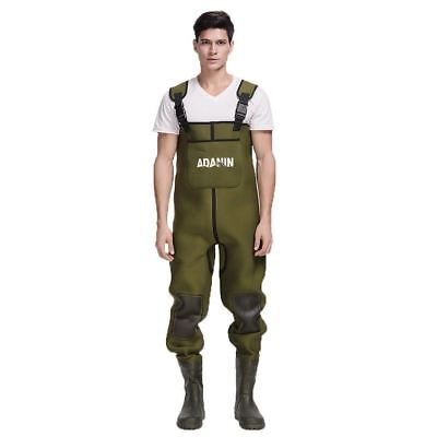 Mens Green Neoprene 4mm Fishing Chest Waders W/ Rubber Boots [ADW-407] - [RS]