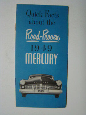 Quick Facts about the Road Proven 1949 Mercury Automobile Booklet