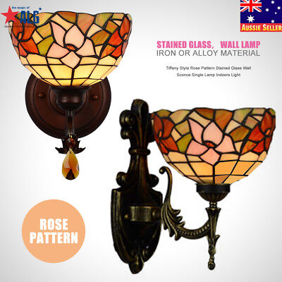 Tiffany Style Rose Pattern Stained Glass Wall Sconce Single Lamp Indoors Light