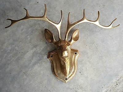 "Vintage Brass Deer Head Wall Mount 10 Point Buck 17"" wide x 10"" tall Ships Free"
