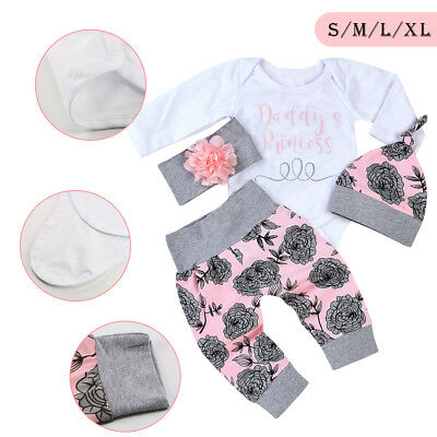 4PCS Newborn Baby Girls Top Romper Long Pants Hat Outfits Clothes 0-24M UK Stock