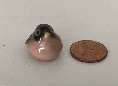 Vintage Hagen-Renaker Baby ROBIN Bird Chick Miniature (closed beak) Pink/Black