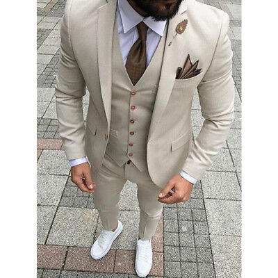 Custom Made Men Wedding Suit Prom Tuxedo Slim Fit 3 Piece Groom Wear Blazer