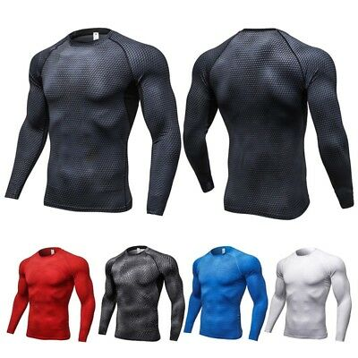 AU Men Sports Compression Skin Base Layer Top Long Sleeve Gym Tights T-Shirt Tee