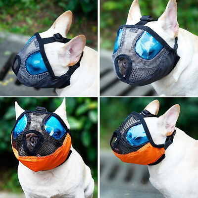 Short Snout Pet Dog Mouth Mesh Muzzle Mask Soft Visible Breathable Adjustable In