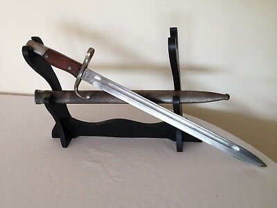 WW-1 Argentinian m1909 Sword Bayonet, With Matching Scabbard and intact crest.