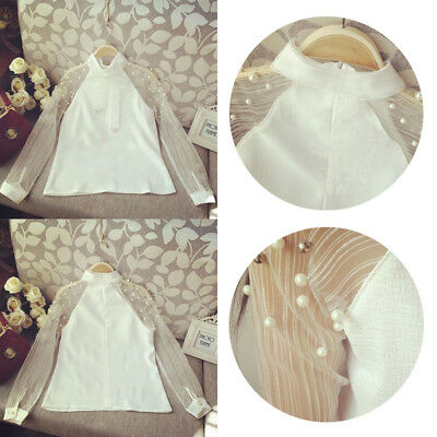 Shirt Tops Blouse Casual Women Organza Bow Of Pearl Hot White Chiffon Elegant