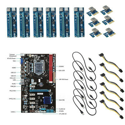 Mining Motherboard + 6pcs PCI-E Extender Riser Card For BTC Eth Rig Ethereum Kit