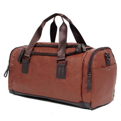Large Men Leather Travel Gym Bag Luggage Handbag Duffle Shoulder Tote