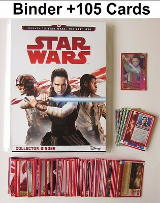 Star Wars Journey To The Last Jedi Binder Album 105 Trading Cards + Limited 2017
