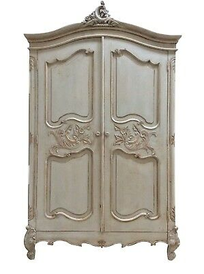 Large French Style Carved Louis XV Painted Grey Armoire Wardrobe Rococo Ornate