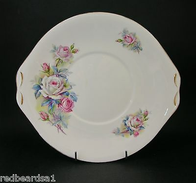 Queen Anne Roses Vintage Bone China Cake Serving Plate Twin Handle England c1960