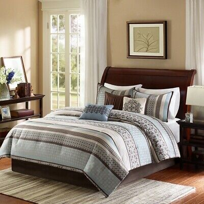 Luxury 7pc Blue & Brown Geometric Comforter Set AND Decorative Pillows