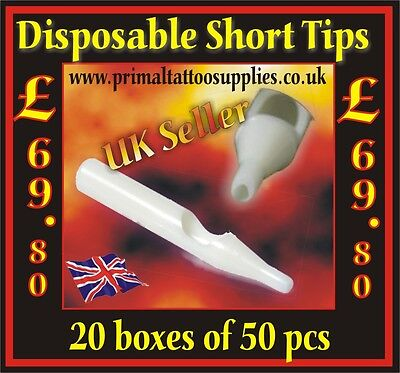 20 Boxes of Disposable Short Tips (1000 Tips in total) - (Tattoo Supplies-Needle