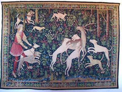 "French Vintage Robert Four ""Paris Scene De Chasse Aubusson Wall Tapestry"