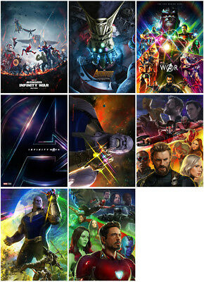 8 Avengers: Infinity War Movie 2018 Mirror Surface Postcard Promo Card Poster A1