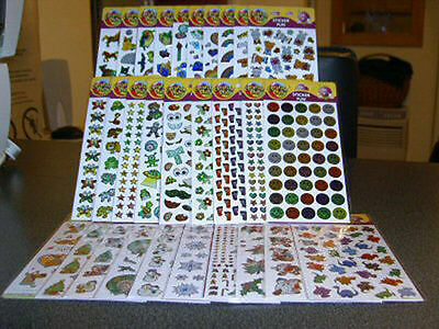 Box of 336 Purple Peach Sticker Sheets cats birds horses fish christmas & more