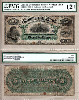 NO RESERVE PRICE AUCTION: 1888 $5 Commercial Bank of Newfoundland PMG Fine 12