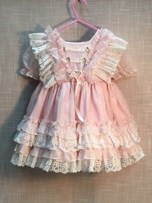 Vintage Marthas Miniatures Pink Sheer Toddler Girls Party Dress Ruffles Lace