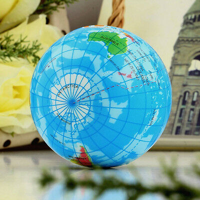 World Map Earth Globe Soft Squeeze Foam Ball Hand Wrist Exercise Stress 7.5cm CL