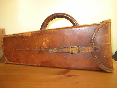 Antique Fine Leather Hawkes & Son London Musical Instrument Case Oboe Clarinet