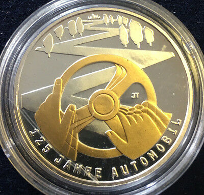 10 Euro Gedenkmünze 125 Jahre Automobil 2011 Goldapplikation