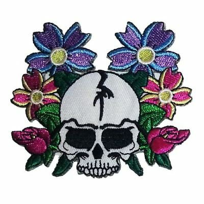 Flower Skull (Iron on) Embroidery Applique Patch Sew Iron Badge