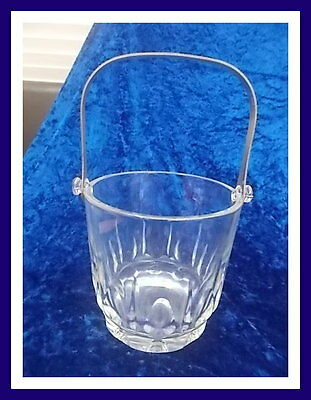Solid Glass Ice Bucket - Glass Pattern Design with Metal Handle EC