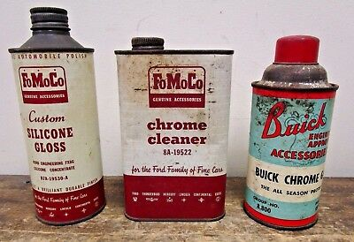 Lot of 3 Vintage Ford & Buick FoMoCo Oil Cans