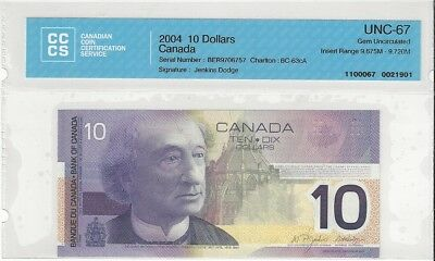 NO RESERVE AUCTION: 2004 $10 Bank of Canada BER INSERT. BC-63cA CCCS GEM UNC 67