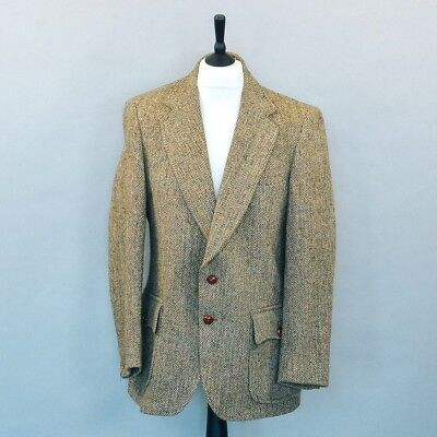 Vintage Harris Tweed Lined Brown Wool Blazer Jacket Retro Men's Large 40 42