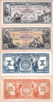 NO RESERVE AUCTION: Canadian Bank of Commerce (CIBC) 1935 $10 VF+ & $20 Notes VF