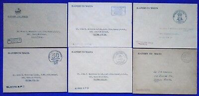 1980/90's Malta Lot/Collection 6 Different Rectangular Village Cancels on Covers
