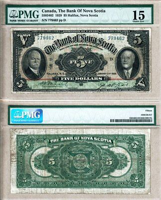 NO RESERVE AUCTION: Bank of Nova Scotia $5 1929 Rainbow Design, PMG Choice F15