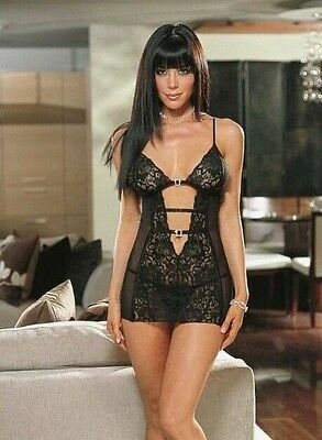Brand New Black Lace Rhinestone Baby-Doll Lingerie Dress & G-String Free Postage