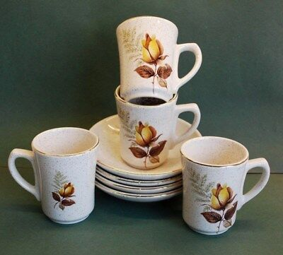"""Four (4) KERNEWEK POTTERY (Cornwall) """"AUTUMN ROSE"""" COFFEE CUPS & SAUCERS"""